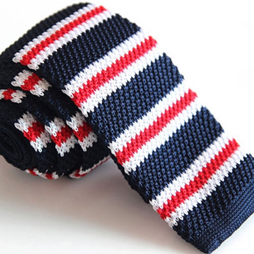 Red/White/Blue Small Stripe Knit Tie