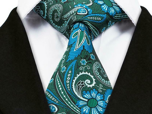 Green/Blue Floral Paisley