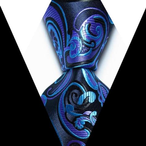 Black/Purple/Blue Swirl Paisley