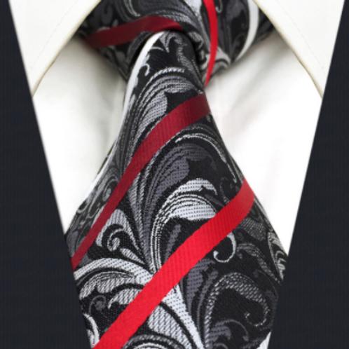 Black/White Red Stripe Paisley