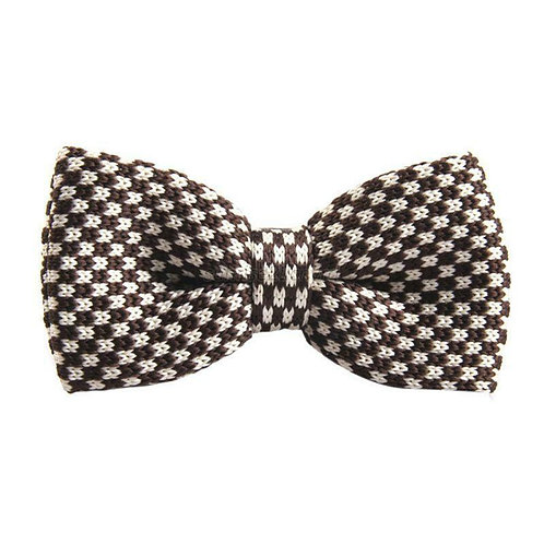 Brown/White Check Knit Bow Tie