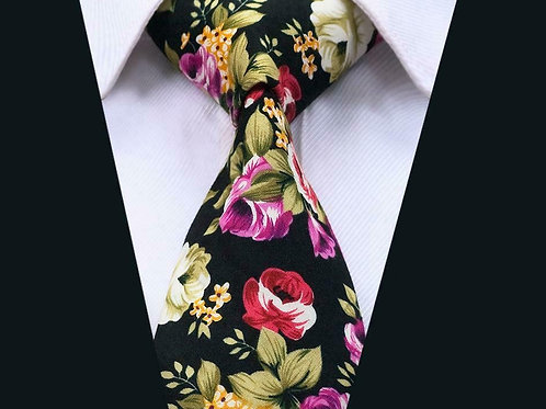 Black Garden Cotton Floral Tie