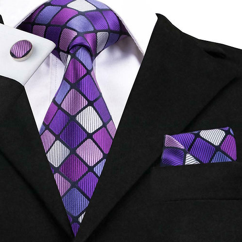 Purple Square Tie Set