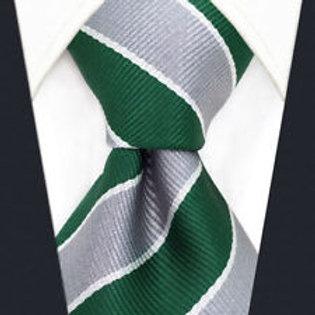 Green/Gray/White Schoolboy Stripe