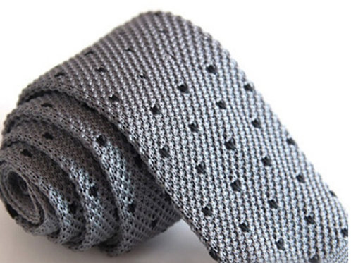 Gray/Black Mini Dot Knit Tie
