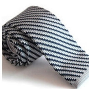 Gray/Black Stripe Knit Tie