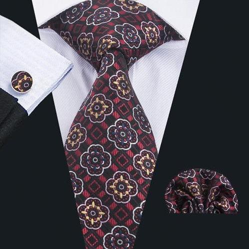 Red/Black Round Floral Tie Set