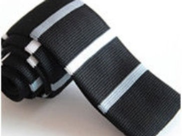 Black/White/Gray Stripe Knit Tie