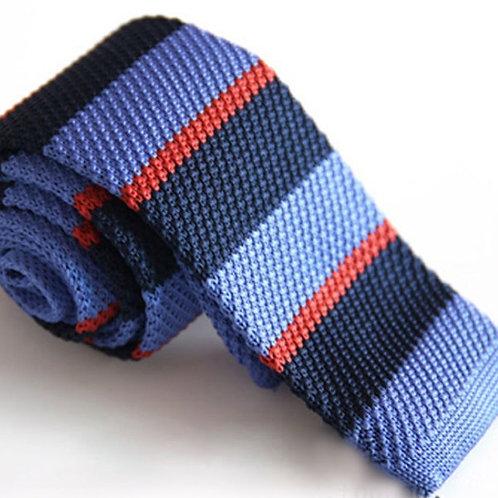 Navy/Blue/Orange Stripe Knit Tie