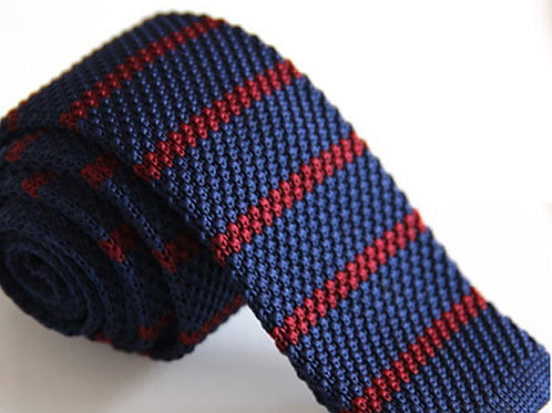Navy/Burgundy Stripe Knit Tie