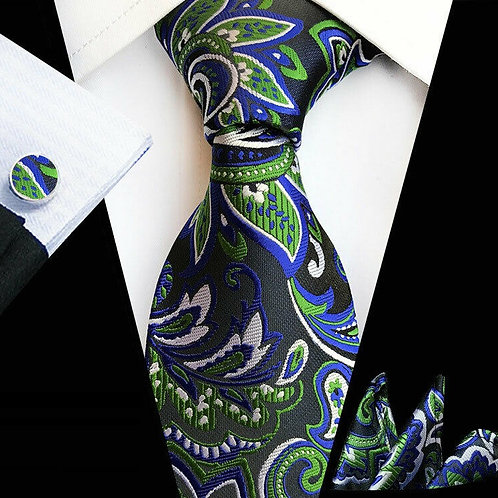 Blue/Green Modern Paisley Tie Set