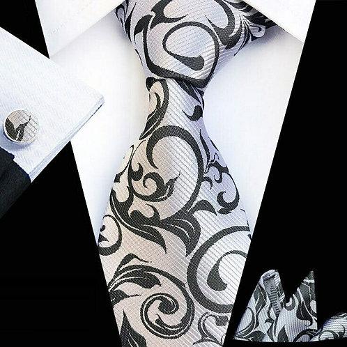 Gray/Black Swirl Tie Set