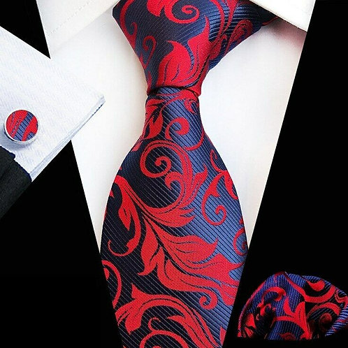 Blue/Red Swirl Paisley Tie Set