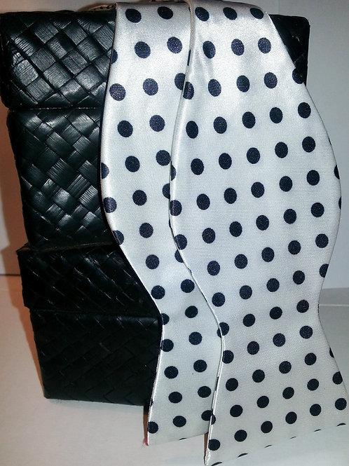 Black/White Large Polka Dot Bow Tie