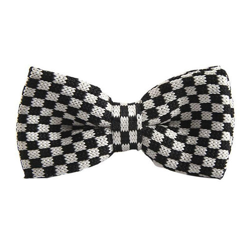 Black/White Check Knit Bow Tie