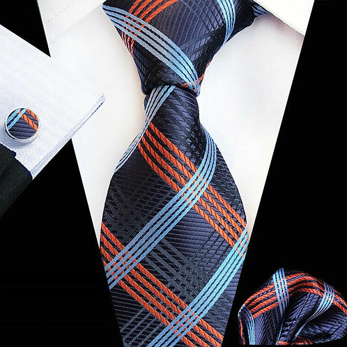 Navy/Orange Multi Stripe Tie Set