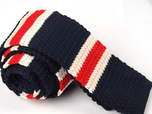 Red/White Blue Wide Stripe Knit Tie