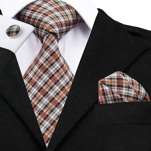 Tan/Rust Scottish Stripe Tie Set