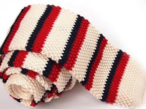 Cream/Red/Navy Stripe Knit Tie