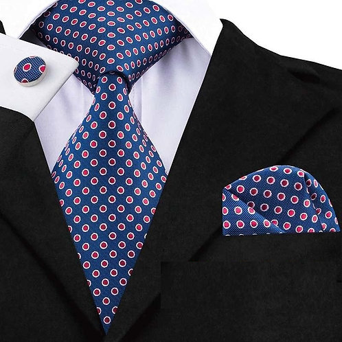 Classic Blue/Red Dot Tie Set