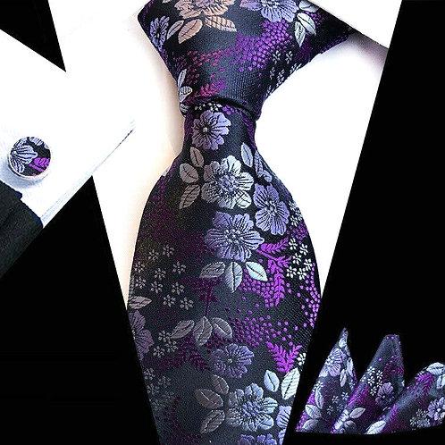 Purple/Lavender Floral Tie Set