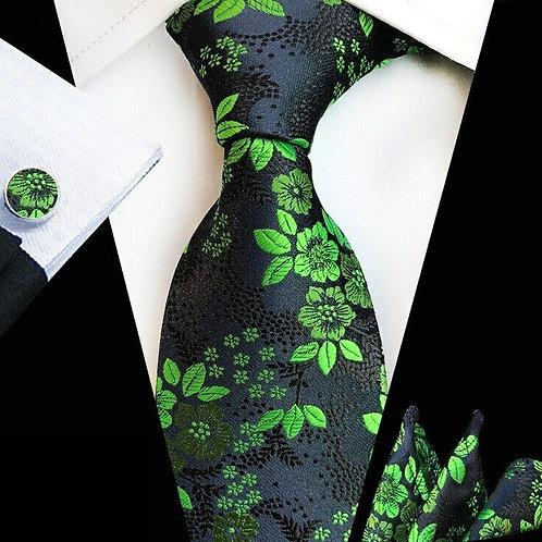 Blue/Green Floral Tie Set