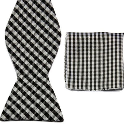 Black White Stripe Bow Tie Set