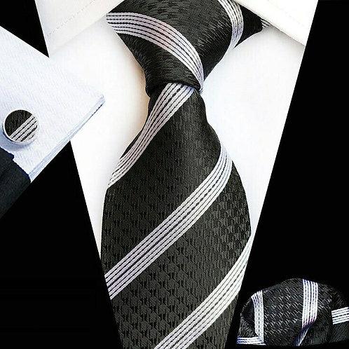 Black/White Multi Stripe Tie Set
