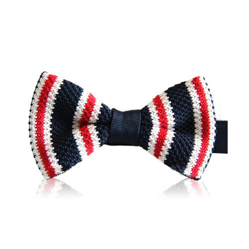 Navy Red White Stripe Knit Bow Tie