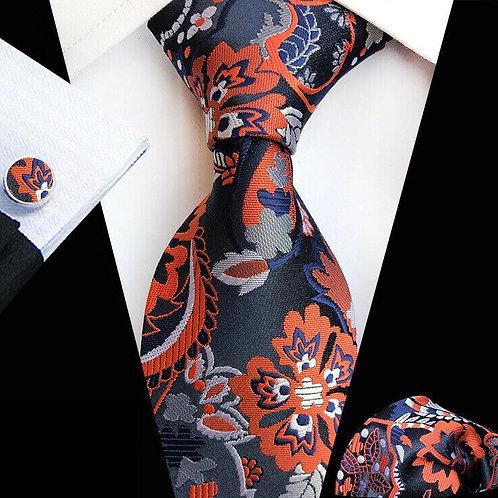 Navy/Orange Floral Paisley Tie Set