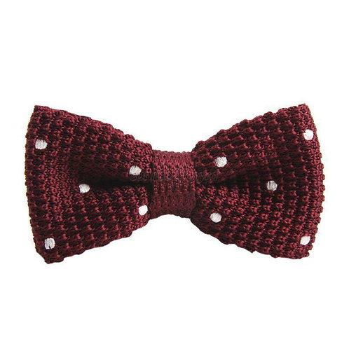 Burgundy/White Dot Knit Bow Tie