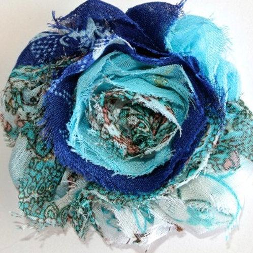 Blue/Aqua Floral Lapel Pin