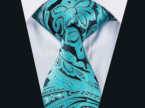 Aqua/Black Paradise Tie Set
