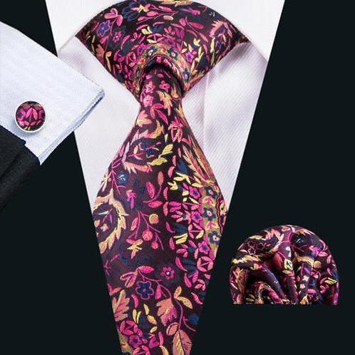 Burgundy/Pink/Yellow Floral Tie Set