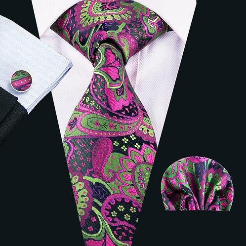 Purple Paradise Paisley Tie Set