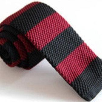 Burgundy/Black Wide Stripe Knit Tie