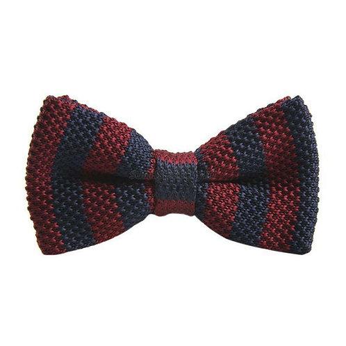 Navy/Burgundy Stripe Knit Bow Tie