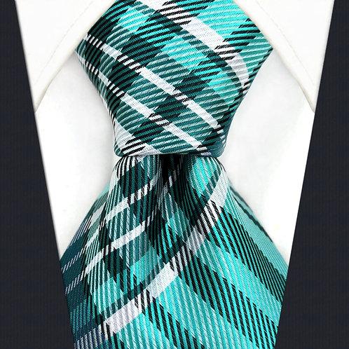 Aqua/Black/White Scottish Stripe
