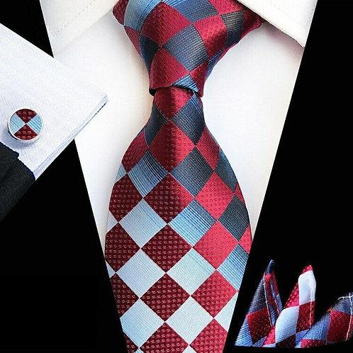Light Blue/Red Picnic Tie Set