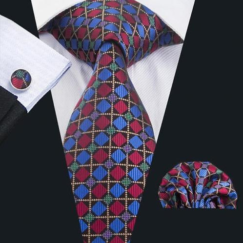 Red/Blue All Squared Tie Set