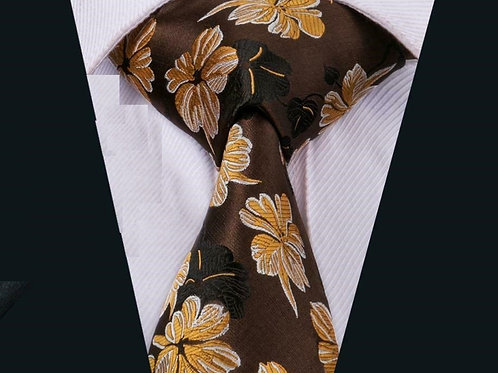 Brown/Gold Poppy Floral