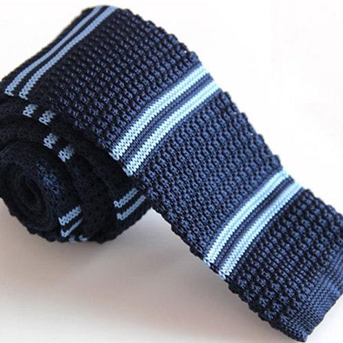 Navy/Blue Double Stripe Knit Tie