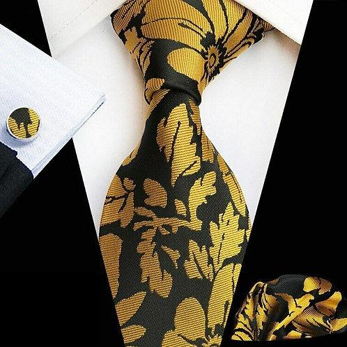 Black/Gold Floral Tie Set