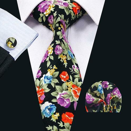 Black Fall Floral Tie Set