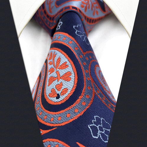 Navy/Gray/Orange Paisley