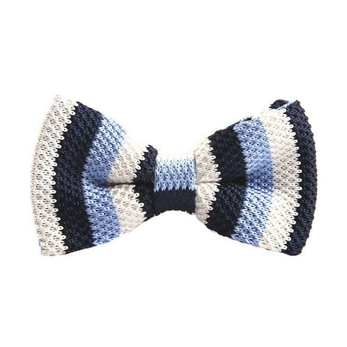 Light Blue/Navy/White Stripe Knit Bow Tie
