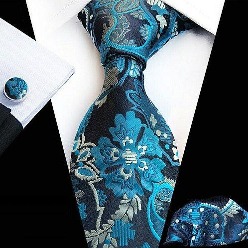 Aqua/Black Floral Paisley Tie Set