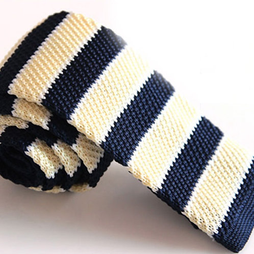 Light Yellow/Navy Stripe Knit Tie