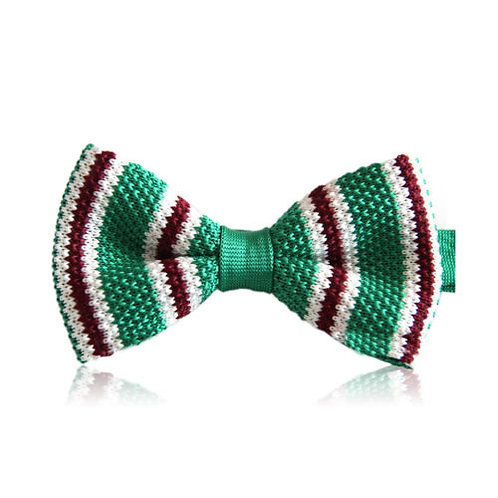 Green Brown White Stripe Knit Bow Tie