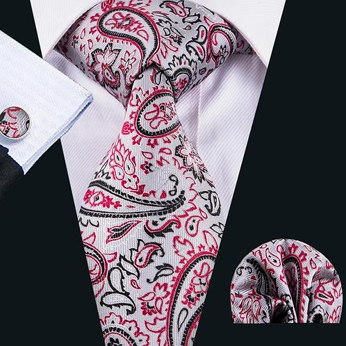 Gray/Red Paisley Tie Set